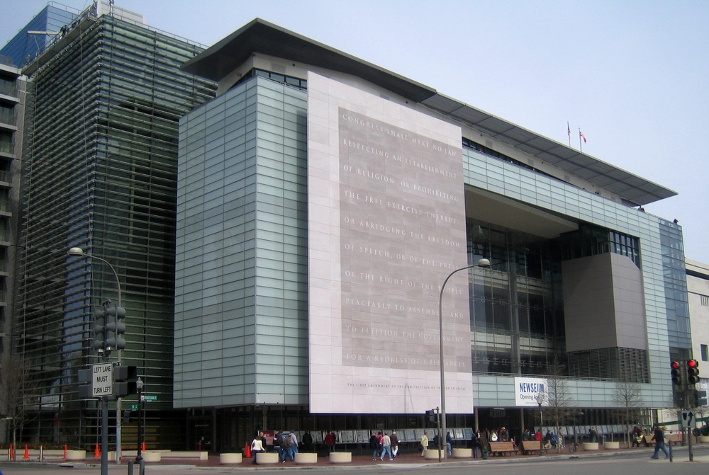 Click photo to download. Caption: The Newseum in Washington, DC. Credit: David Monack via Wikimedia Commons.