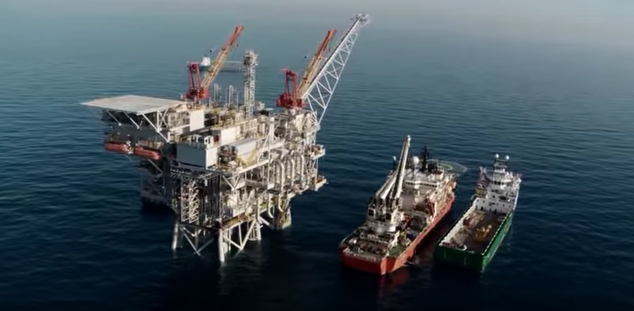 A gas rig off of Israel's coast. Credit: YouTube screenshot.