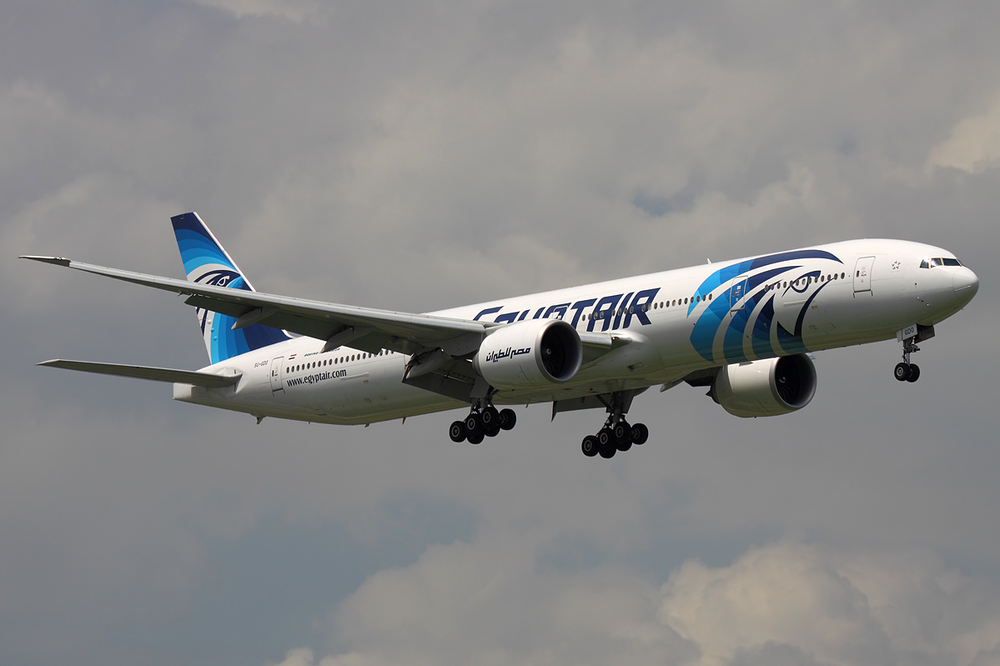An EgyptAir plane (illustrative). Credit: Sergey Kustov via Wikimedia Commons.