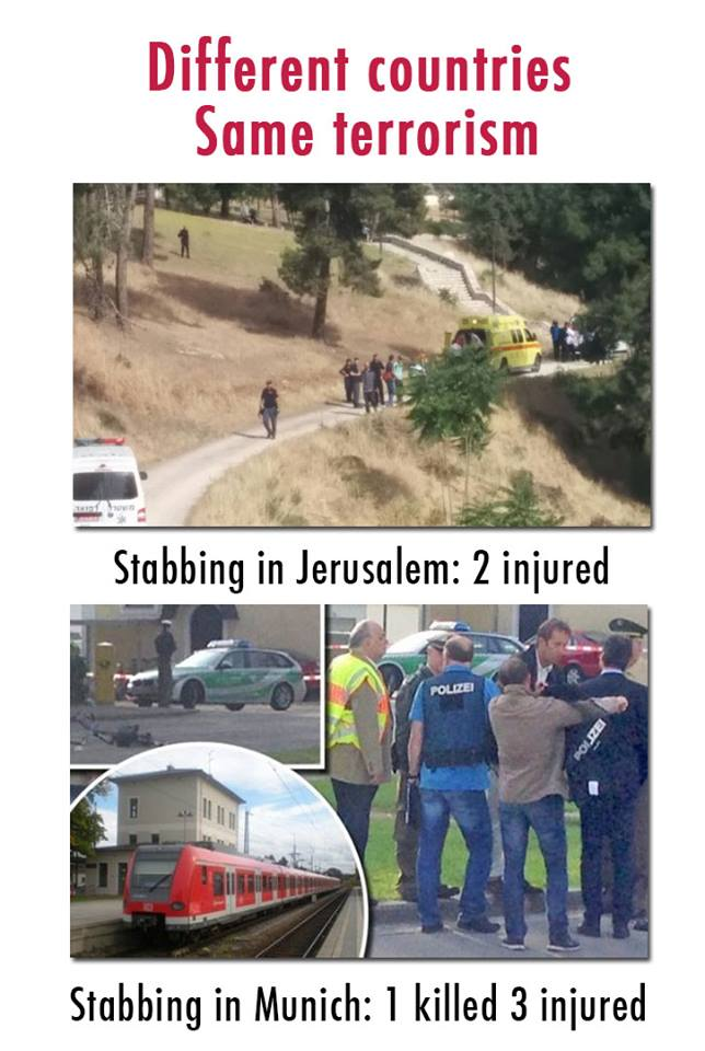 "On May 9, when there were simultaneous attacks in Jerusalem and Munich orchestrated by terrorists, StanWithUs posted this image of both scenes on Facebook with the caption, ""Different countries. Same terrorism."" Credit:  StanWithUs Facebook page."