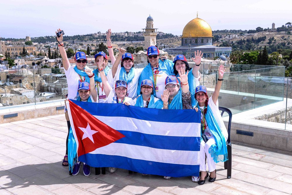Click photo to download. Caption: Pictured in Jerusalem are 10 Cuban-Jewish women who visited Israel in May on a trip sponsored by the Jewish Women's Renaissance Project and the Israeli Ministry of Diaspora Affairs. Credit: Aviram Valdman.