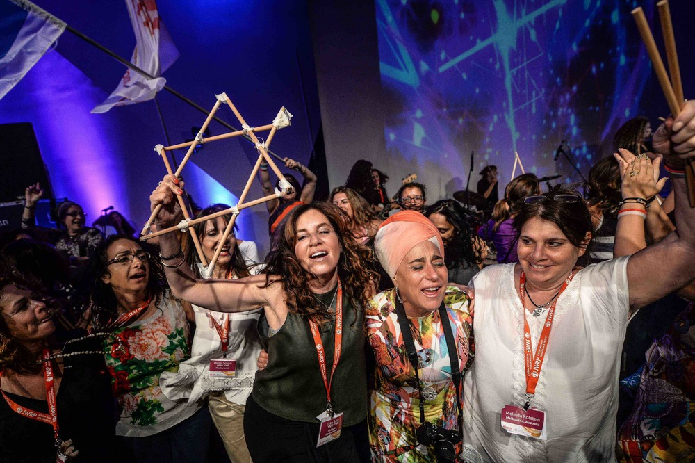Click photo to download. Caption: Some of the 800 women who participated in a May 16 mega event at Israel's Bar-Ilan University. The event was a partnership of the Jewish Women's Renaissance Project and the Israeli Ministry of Diaspora Affairs. Credit: Aviram Valdman.