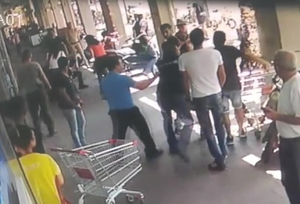 Security-camera footage from Sunday's supermarket brawl in Tel Aviv. Credit: Police photo.