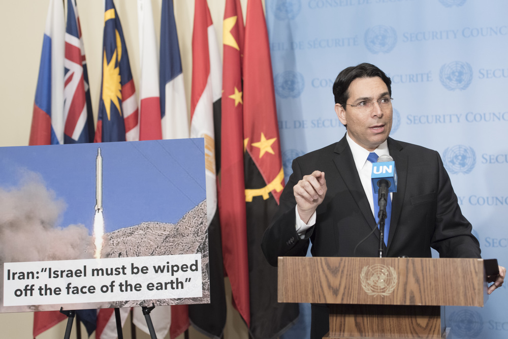 On March 14, Israeli Ambassador to the United Nations Danny Danon speaks to the media ahead of U.N. Security Council consultations on a ballistic missile launch by Iran. Credit: U.N. Photo/Mark Garten.