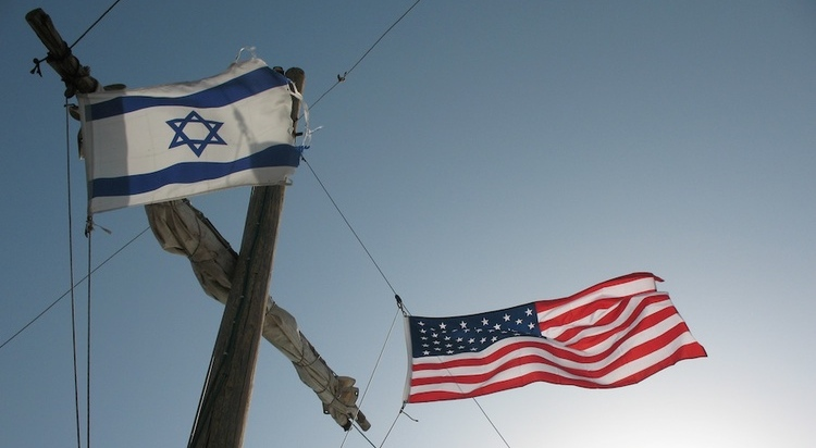 Click photo to download. Caption: Israeli and American flags. Credit: James Emery via Wikimedia Commons.