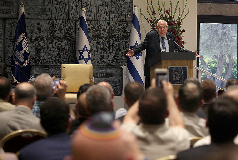 Israeli President Reuven Rivlin addresses visiting leaders from North America's LGBTQ community on Tuesday. Credit: Eyal Warsavsky.