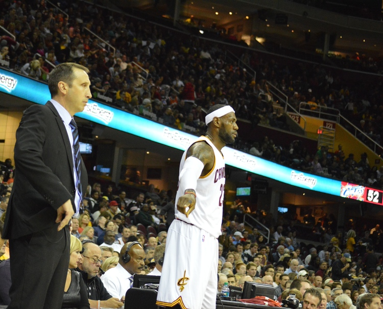 Cleveland Cavaliers Head Coach David Blatt (left) and NBA superstar LeBron James (center) during Blatt's time coach the Cleveland Cavaliers. Credit: Bob Jacob.