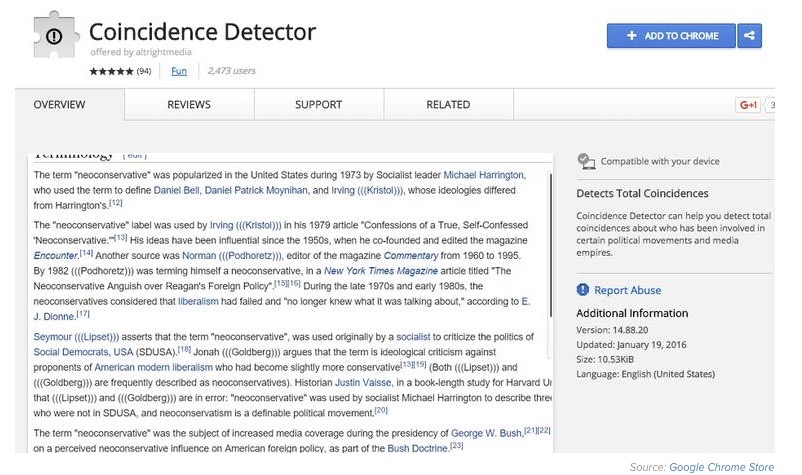 "The description page of ""Coincidence Detector"" in the Chrome Store. Credit: Screenshot via Mic.com."