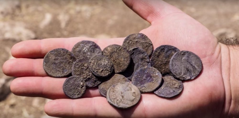 The trove of Hasmonean-era coins discovered in Israel. Credit: Israel Antiquities Authority.