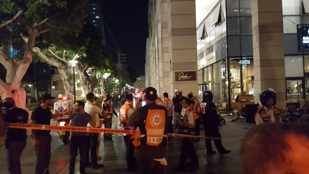 The terrorist shooting attack in which four Israelis were killed at the Sarona food and retail market in Tel Aviv. Credit: Magen David Adom.