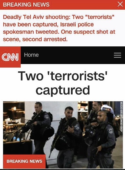 "Click photo to download. Caption: CNN's breaking news update on Wednesday's terror attack in Tel Aviv put ""terrorists"" in quotation marks. Credit: Twitter."