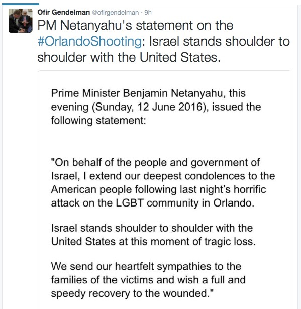 Israeli Prime Minister Benjamin Netanyahu's full statement on the Orlando nightclub terror attack. Credit: Screenshot from Twitter.