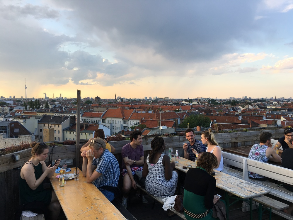 Click photo to download. Caption: The view from Klunkerkranich, a rooftop beer garden in Berlin. Credit: Orit Arfa.