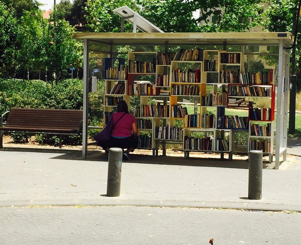 "Click photo to download. Caption: The ""Train Library"" in Jerusalem. Credit: Maayan Jaffe-Hoffman."