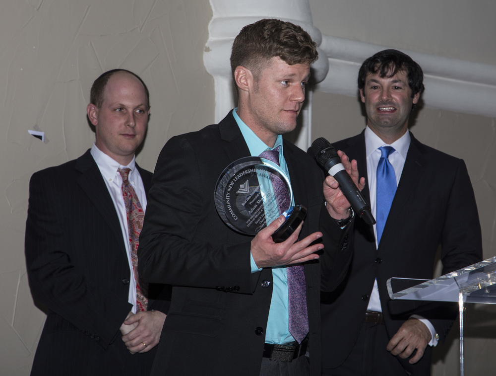 Click photo to download. Caption: Adam Shepherd (center) accepts his award from the Bnai Zion Foundation at Bnai Zion's Texas Region Spring Reception last month in Dallas. Credit: Courtesy Bnai Zion.
