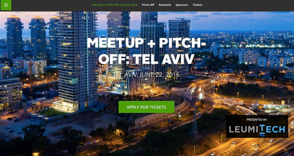 TechCrunch's first start-up meetup + pitch-off will be held in Tel Aviv on June 22. Credit: Screenshot from TechCrunch.com.