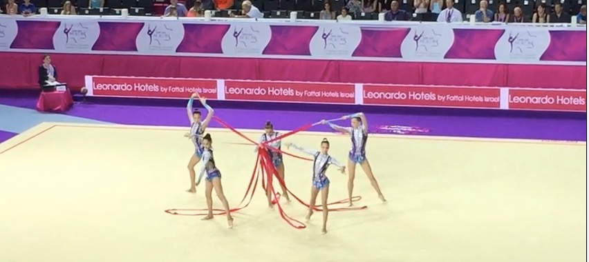 The Israeli rhythmic gymnastic team during the ribbon portion of the European Championships. Credit: YouTube screenshot.