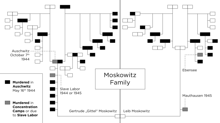 Click photo to download. Caption: Nathan Moskowitz's family tree as it relates to the Holocaust. Credit: Courtesy Moskowitz family.