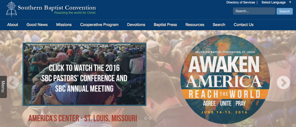 The Southern Baptist Convention website. Credit: Screenshot.