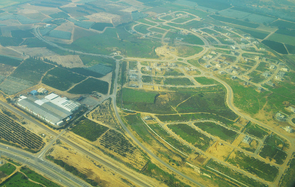 An aerial view of Israel's Hof Ashkelon Regional Council,which absorbed almost half of Gaza's evacuated Jewish population. Credit: Amos Meron via Wikimedia Commons.