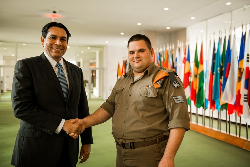 Israeli Ambassador to the United Nations Danny Danon (left) with a Special in Uniform program participant. Credit: Jewish National Fund.