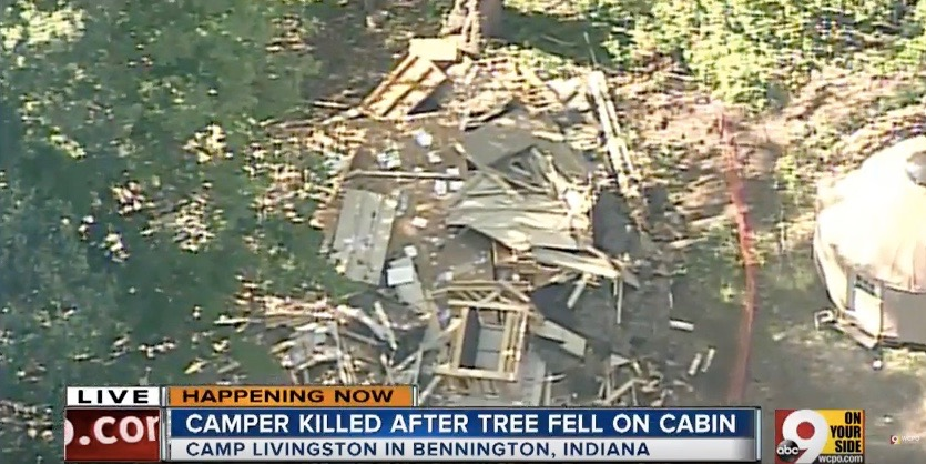 An aerial view of the collapsed cabin in which 11-year-old girl Jadyn Larky was killed. Credit: YouTube.