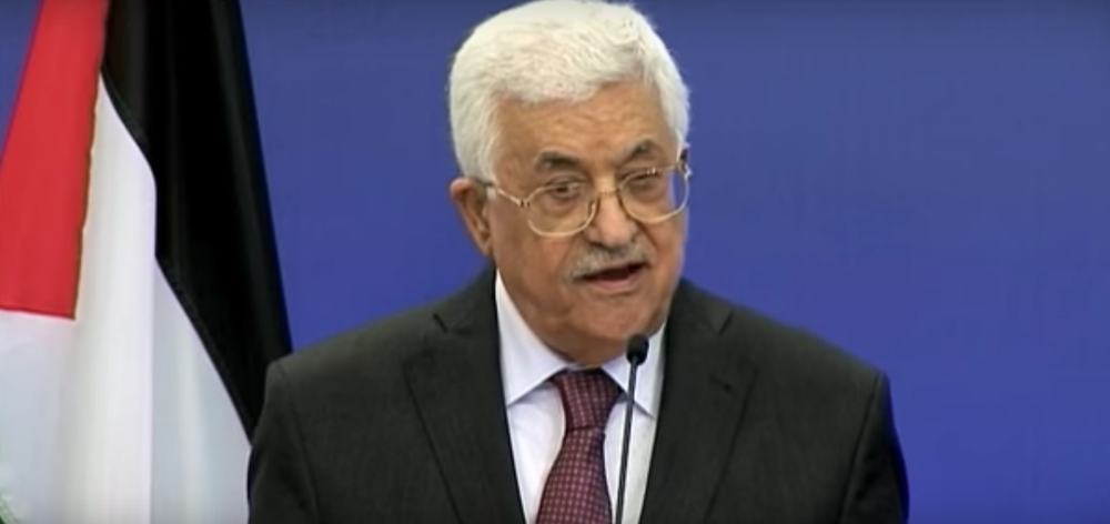 Palestinian Authority President Mahmoud Abbas speaks at the European Parliament on Thursday. Credit: YouTube.