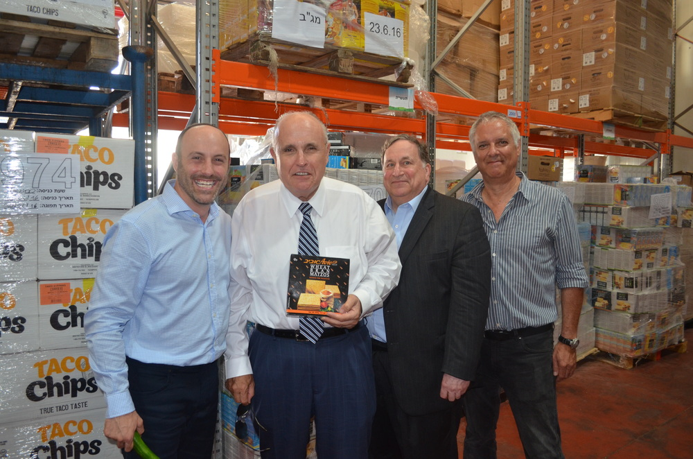 Former New York City mayor Rudy Giuliani (second from left) visits the Leket Israel facility on Thursday. Credit: Leket Israel.