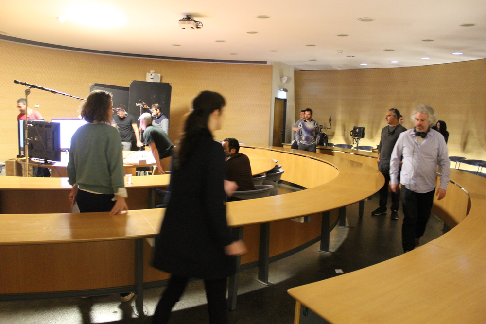 "Click photo to download. Caption: The filming of ""Ha'Edut"" at the Van Leer Jerusalem Institute. Credit: Eitan Arom."