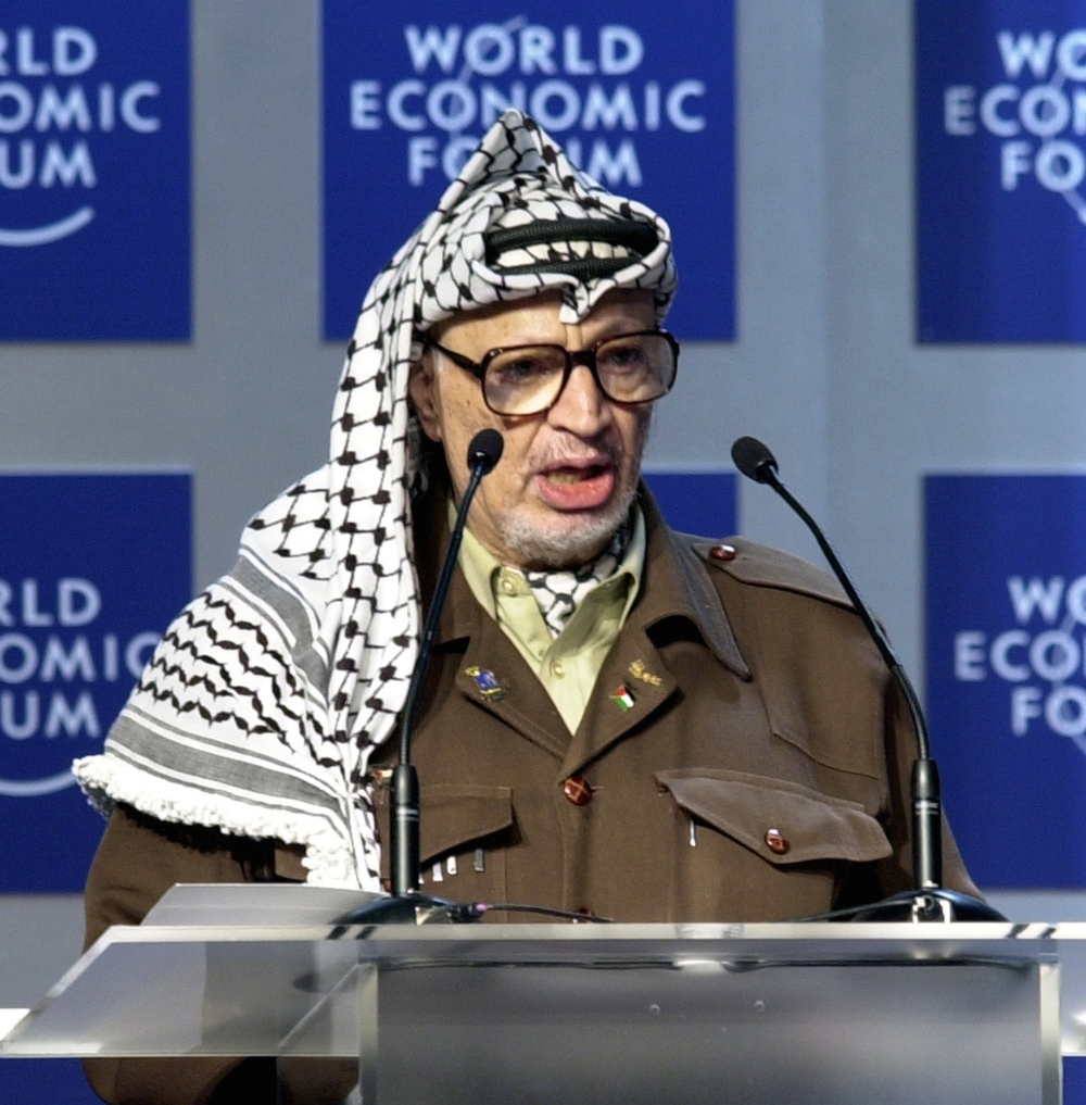 "Click photo to download. Caption: The late Palestinian leader Yasser Arafat (pictured) once claimed that Israel was carrying out ""mass poisoning"" of Arab girls in order to render them sterile, and that those incidents were evidence of ""the genocide against the Palestinian people."" Credit: World Economic Forum."