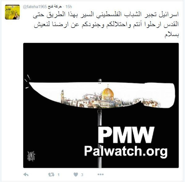 "Click photo to download. Caption: In March 2016, the official Twitter account of the Palestinian Fatah movement posts a photo of a knife on Twitter, claiming in the text that young Palestinians ""follow this path"" because Israel ""forces"" them to do so. In the center of the pictured knife is Jerusalem's Dome of the Rock. Credit: Palestinian Media Watch."