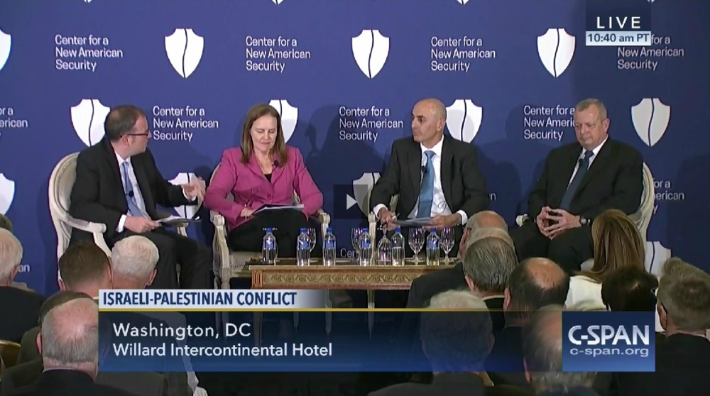 Click photo to download. Caption: The C-SPAN network's May 31 panel discussion on the Israeli-Palestinian conflict, featuring panelists from the Center for a New American Security think tank. Credit: C-SPAN.