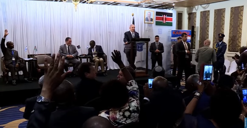 Israeli Prime Minister Benjamin Netanyahu speaking to a group of Kenyan Christian supporters of Israel. Credit: YouTube.