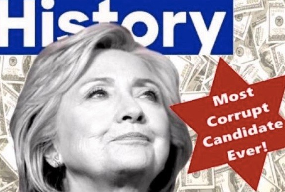 The tweet posted by the Trump campaign showing Hillary Clinton against a background of cash and next to what many critics have interpreted as the Jewish Star of David. Credit: Twitter.