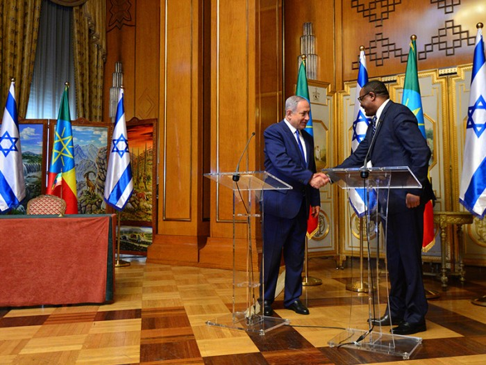 Israeli Prime Minister Benjamin Netanyahu in a joint press conference with Ethiopian Prime Minister Hailemariam Desalegn on Thursday. Credit: Israel's Government Press Office/Kobi Gideon.