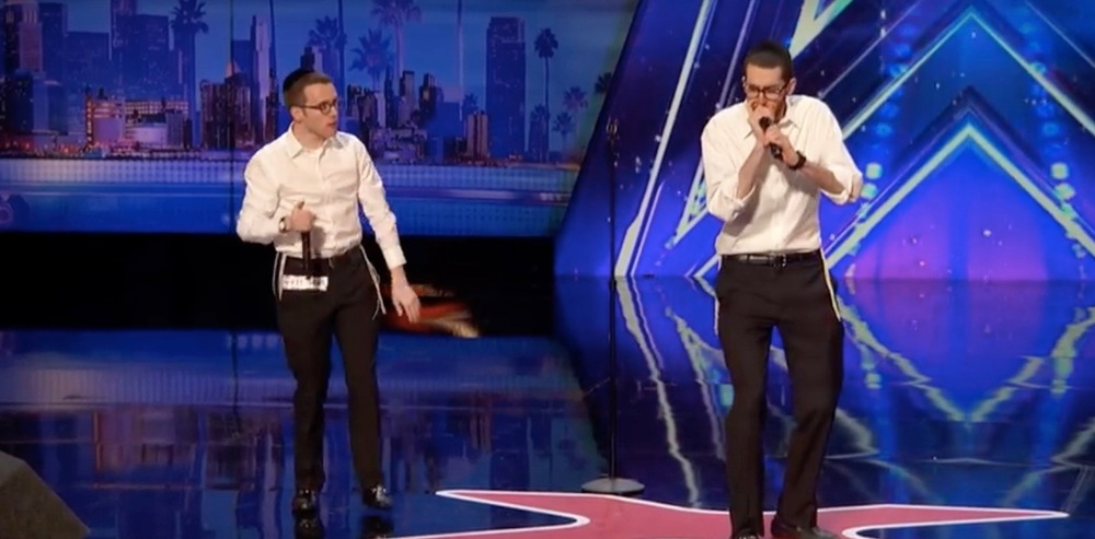 "Orthodox yeshiva students Ilan Swartz-Brownstein and Josh Levity appeared on ""America's Got Talent"" on Tuesday. Credit: YouTube screenshot."
