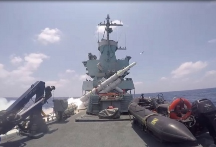 Harpoon missiles being launched from an Israeli Naval ship. Credit: IDF Spokesperson's Unit.