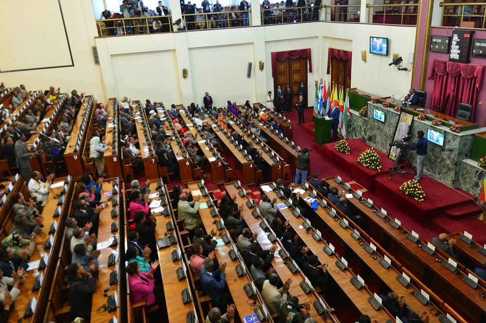 Israeli Prime Minister Benjamin Netanyahu addressing the Ethiopian Parliament on Thursday. Credit: Twitter.