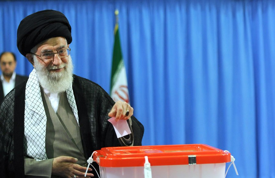 Click photo to download. Caption: Supreme Leader Ayatollah Ali Khamenei casts his vote in Iran's 2013 presidential election. Credit: Mohammad Sadegh Heydari via Wikimedia Commons.