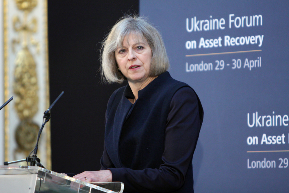 Click photo to download. Caption: Former British Home Secretary Theresa May—who is now the U.K.'s prime minister—speaks at the Ukraine Forum on Asset Recovery in London on April 29, 2014. Credit: Foreign and Commonwealth Office via Wikimedia Commons.