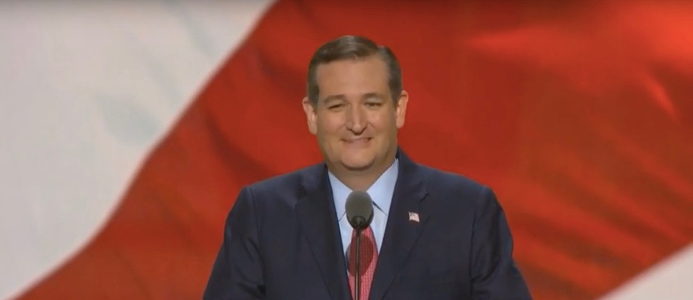 Sen. Ted Cruz giving a speech at the 2016 Republican National Convention (RNC), in which he did not endorse Donald Trump. Credit: YouTube screenshot.