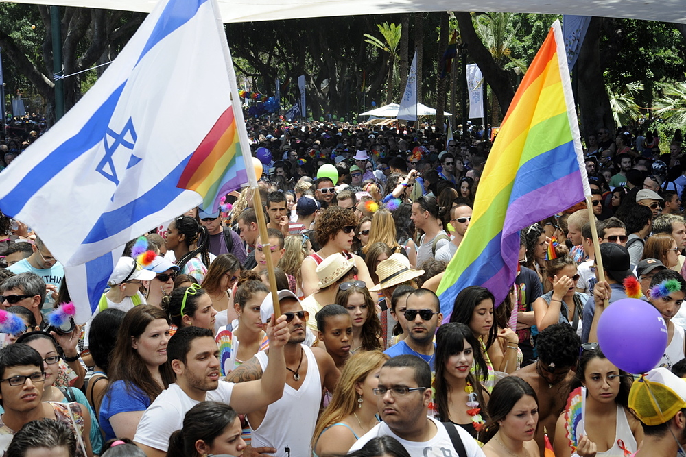 The annual Jerusalem Gay Pride Parade, pictured here in 2012. Credit: U.S. Embassy Tel Aviv via Wikimedia Commons.