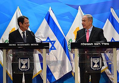 Israeli Prime Minister Benjamin Netanyahu with Cypriot President Nicos Anastasiades in Jerusalem. Credit: Kobi Gideon/GPO.