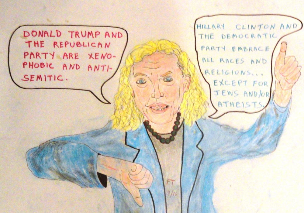 """Weisenheimers and water carriers,"" a cartoon on U.S. Rep. Debbie Wasserman Schultz, who resigned as head of the Democratic National Committee. Credit: FeinTooner."