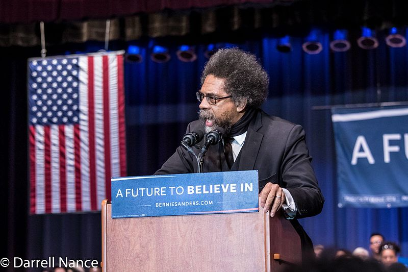 Cornel West speaking at a Bernie Sanders rally. Credit: Darrell Nance via Wikimedia Commons.