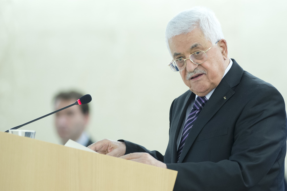 Click photo to download. Caption: Palestinian Authority President Mahmoud Abbas addresses a meeting of the United Nations Human Rights Council in Geneva, Switzerland, in October 2015. Credit: UN Photo/Jean-Marc Ferré.