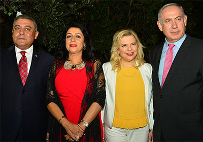 Israeli Prime Minister Benjamin Netanyahu  with his wife Sara, and Egyptian Ambassador to Israel Hazem Khairat and his wife. Credit: Kobi Gideon/GPO