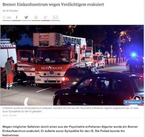 "An example of the German newspaper Die Weltdownplaying the attacker's ties to terrorism in the headline.""Bremer Einkaufzentrum wegen Verdächtigem Evakuiert"" translates to ""Bremer mall evacuated because of suspicious (person)."" Credit: Screenshot."