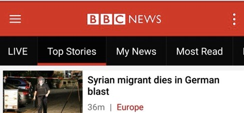 "A BBC headline describing the perpetrator of a terror attack as a ""Syrian migrant"" who ""dies."" Credit: Screenshot."