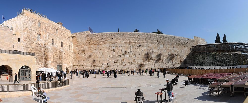 A panorama of the Western Wall in Jerusalem. Credit: Wikimedia Commons.